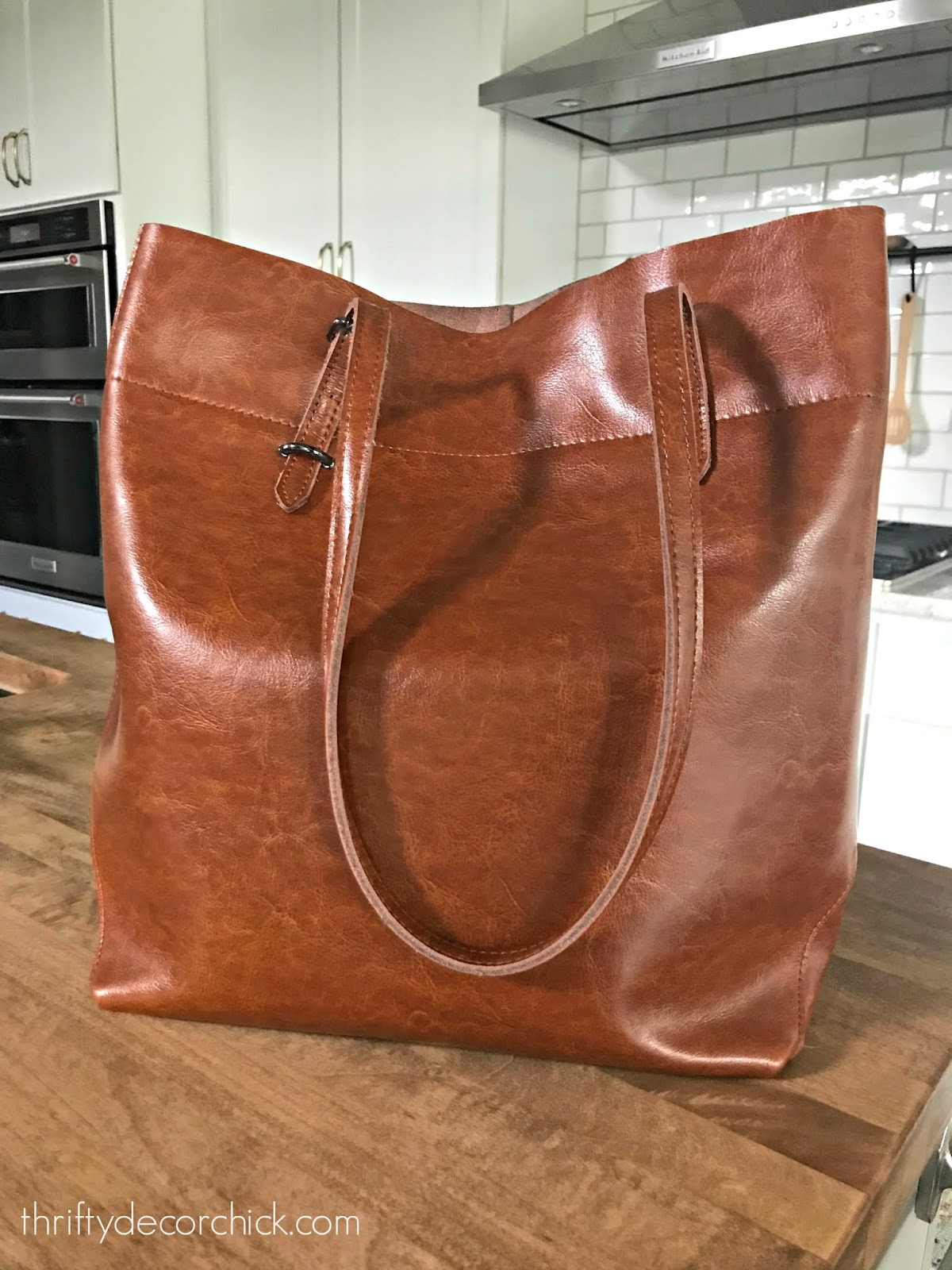 Roomy leather brown bag Amazon