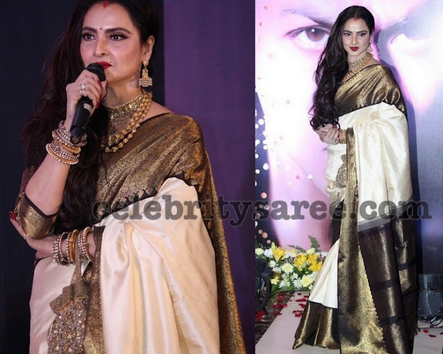 Rekha Off White Silk Saree
