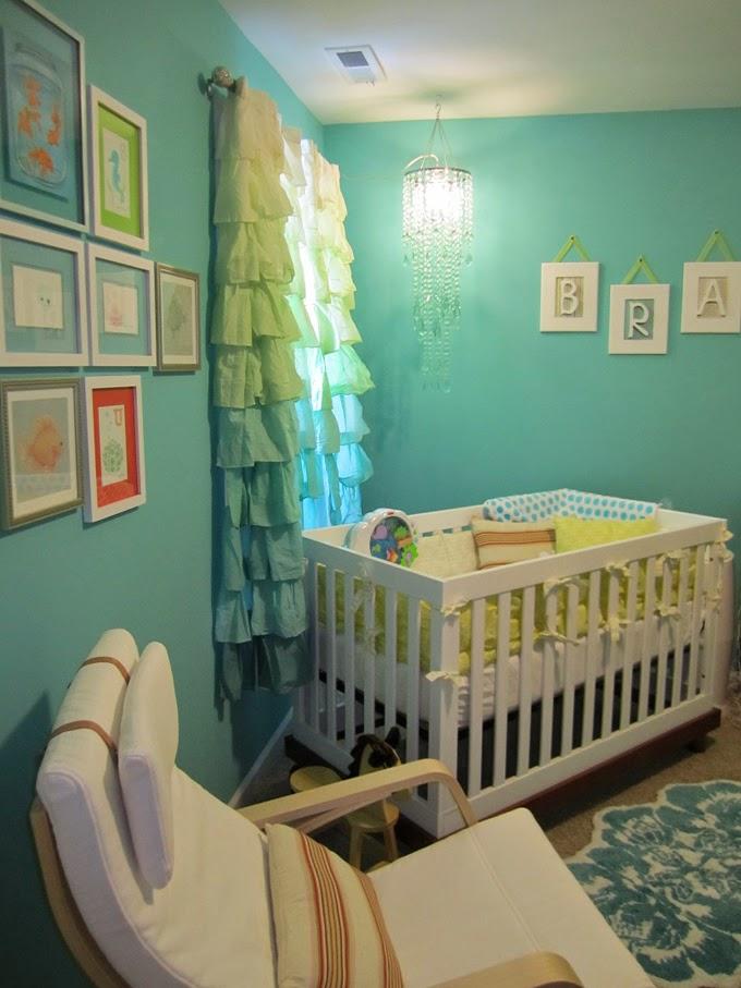 Decoración dormitorio turquesa bebé