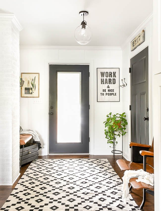 Budget friendly vintage modern mudroom