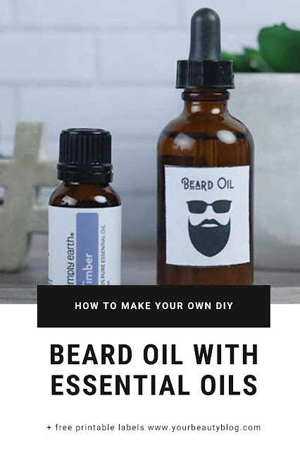 How to make your own homemade beard oil recipe. This easy diy for men has calendula infused oil and essential oils. Try this recipe DIY homemade beard oil for Fathers Day DIY gift ideas. Learn about the benefits of the natural oils and how to use it.  Includes labels printable so it's ready to gift. This recipe DIY how to make a beard oil with a home made recipe. #beardoil #diy #essentialoils