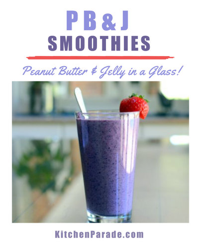 Peanut Butter & Jelly Smoothies ♥ KitchenParade.com. Childhood's favorite PB&J sandwich in a glass.