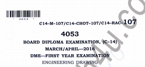 Sbtet diploma Engineering drawing previous question paper march/april 2016