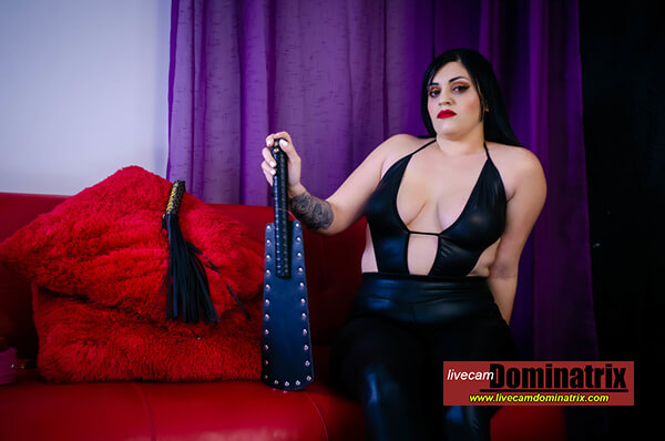 Viickymoore on livecamdominatrix BBW Mistress in black wetlook outfit with black paddle