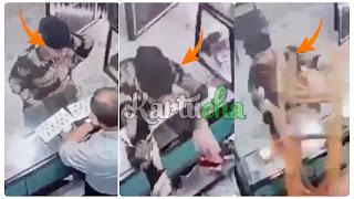 بالفيديو يحدث في تونس.... عملية براكاج لصاحب محل بيع ذهب من طرف إمرأة بمفردها.....