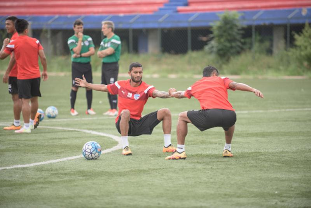 Bengaluru FC midfielder Darren Caldeira in training at the Bangalore Football Stadium, in Bengaluru, on Tuesday.