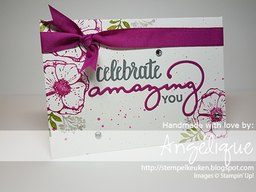 de Stempelkeuken Stampin'Up! producten koop je bij de Stempelkeuken http://stempelkeuken.blogspot.com #stempelkeuken #stampinup #stampinupnl #celebrate #amazing #celebrateyou #amazingyou #cardmaking #papercrafting #kaartenmaken #stempelen #stamping #kreativ #geburtstag #verjaardag #birthday #ribbon #framelits #bigshot #denhaag #thehague #westland #delft