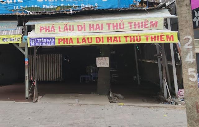 Địa chỉ quán phá lấu dì Hai Thủ thiêm: 233 Trần Não, Bình An, Quận 2