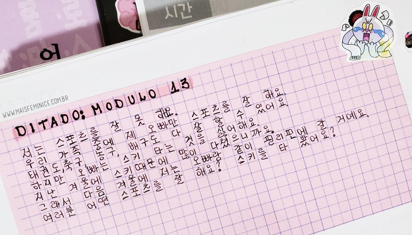 Hangul Em Papel Quadriculado E Pontilhado Mais Feminices E
