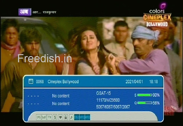 Colors Cineplex Bollywood channel and satellite frequency on DD Free dish