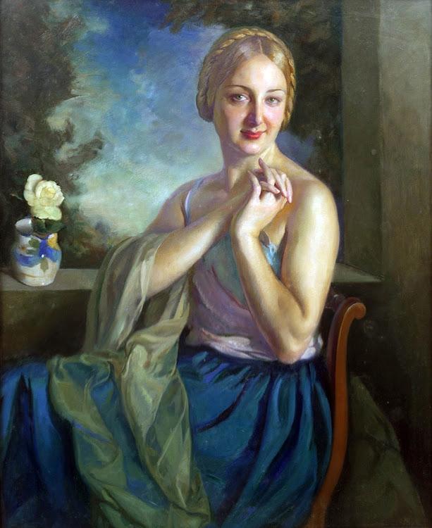 Amorosa, Victor Moya Calvo, Pintor español, Pintores Valencianos, Retratos de Victor Moya Calvo, Pintores españoles