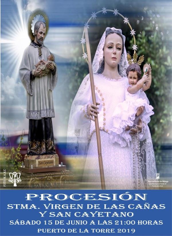 Horario e Itinerario Hermandad de la Virgen de las Cañas y San Cayetano de Puerta de la Torre. Málaga 15 de Junio del 2019