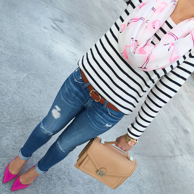 AG distressed super skinny jeans Kate Spade lottie pumps Ann Taylor striped shoulder zip shirt Sole Society flamingo scarf Loeffler Randall rider bag