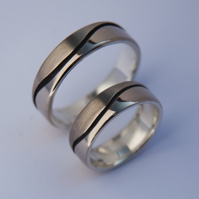 Nibi Bimaadiziwin wedding rings by Zhaawano Giizhik