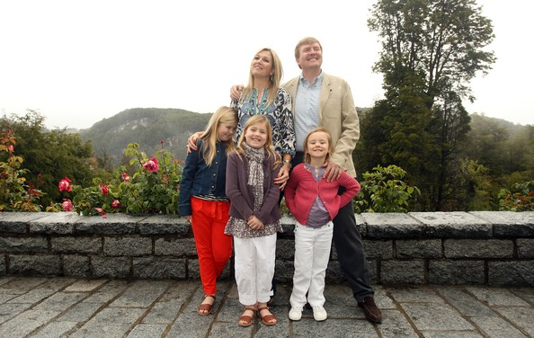 Prince Willem-Alexander, Princess Maxima and their daughters pose for the media, before spending the Christman holiday