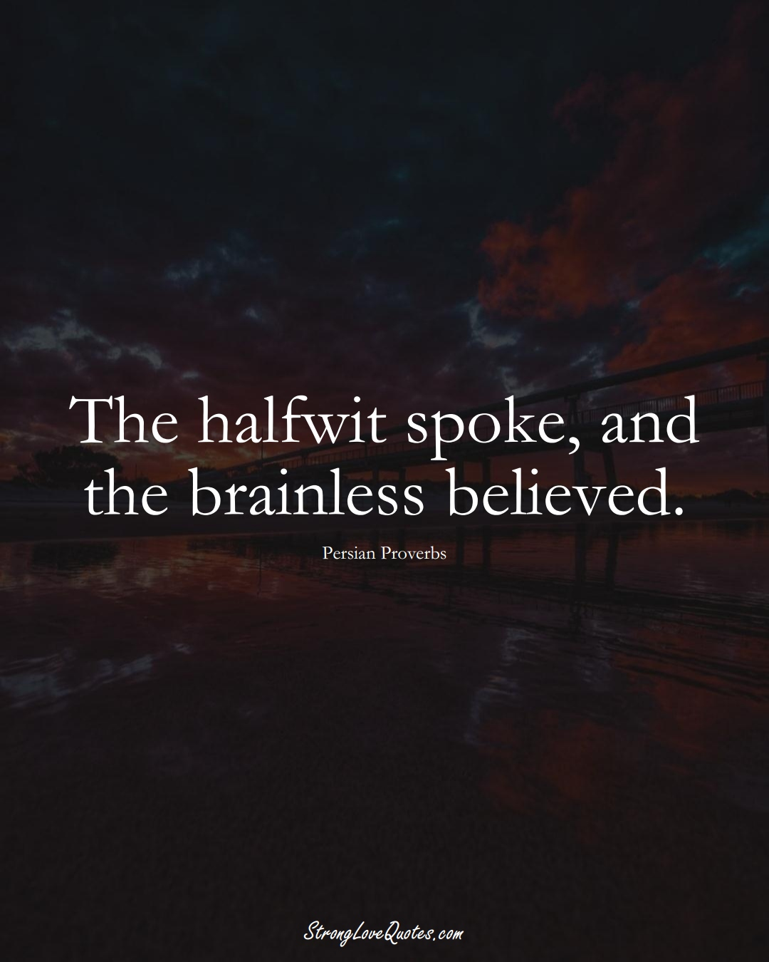 The halfwit spoke, and the brainless believed. (Persian Sayings);  #aVarietyofCulturesSayings