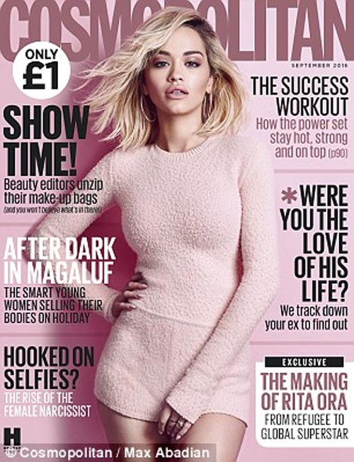 Rita Ora covers frontpage of Cosmopolitan Magazine
