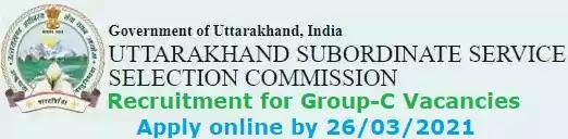 Uttarakhand SSSC Group-C Vacancy Recruitment 2021