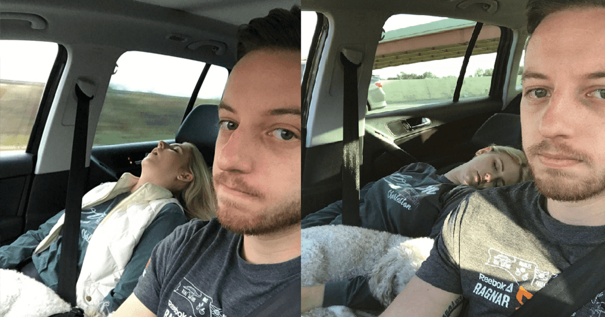 Man Compiles Hilarious Pictures Of His Wife Sleeping On Their Road Trips