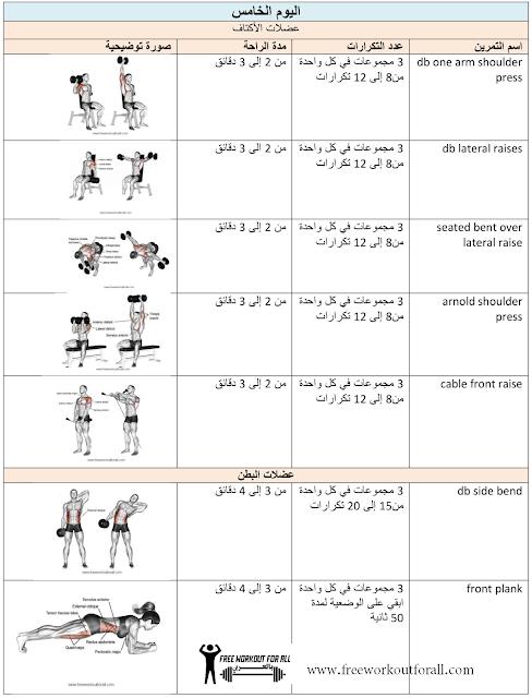 جدول تمارين كمال الاجسام 5 أيام تمارين عضلة الأكتاف