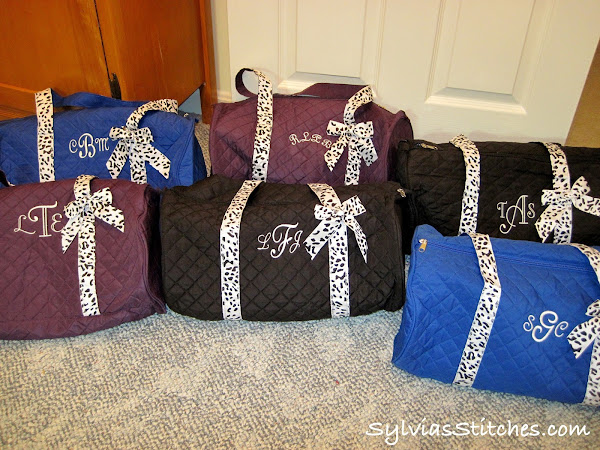 Monogrammed Duffle Bags & some quilts