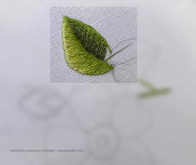 Finishing off a needlepainted leaf