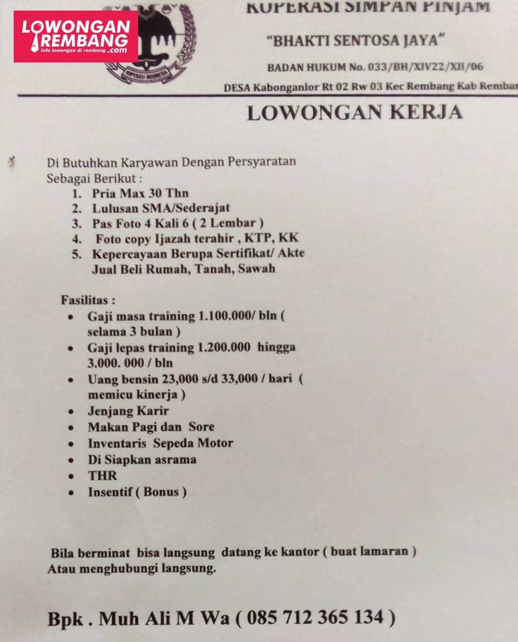 Lowongan Kerja Karyawan Koperasi Ksp Bhakti Sentosa Jaya Rembang Lowongan Rembang