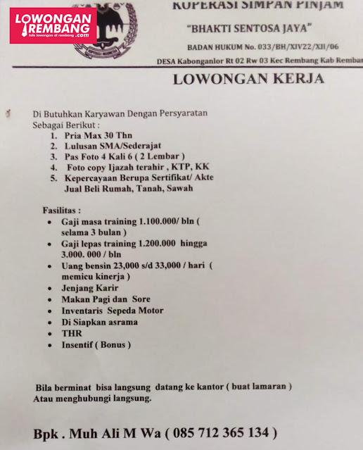 Lowongan Kerja Karyawan Koperasi KSP Bhakti Sentosa Jaya Rembang