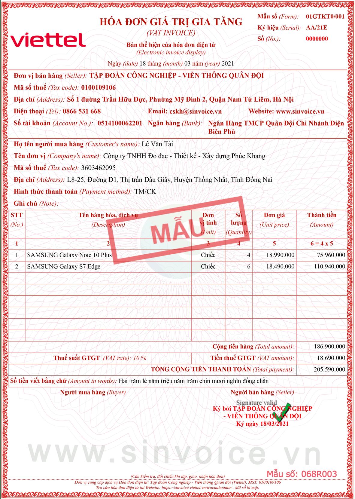 Mẫu hóa đơn điện tử số 068R003