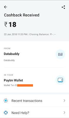 Databuddy app paytm proof image