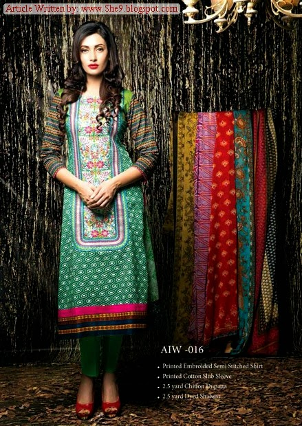 Amna Ismail Semi Stitched Winter Dress Collection 2014