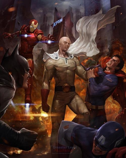saitama melawan superhero marvel dan DC