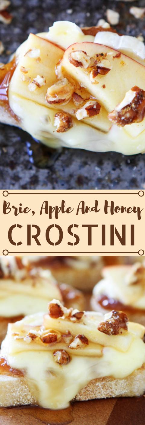 Brie, Apple, and Honey Crostini #desserts #cakes #apple #honey #easy