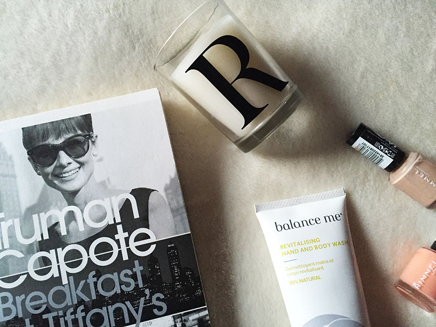 Breakfast at Tiffany's, R initial candle and Balance Me hand and body wash.