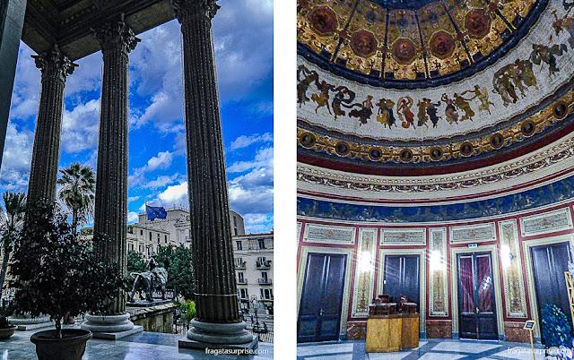 A entrada monumental e a Sala Pompeiana do Teatro Massimo de Palermo