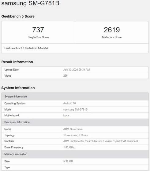 Galaxy-S20-Lite-Geekbench-listing