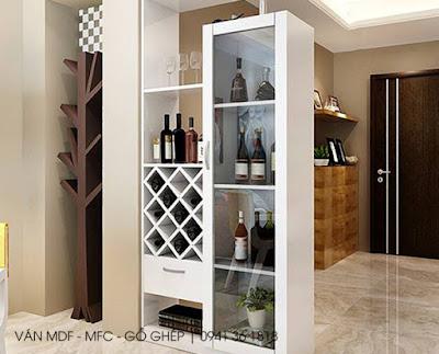 Kệ rượu MFC màu trắng rất bắt mắt