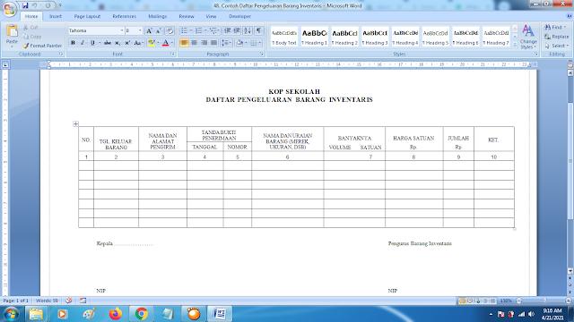 Contoh Daftar Pengeluaran Barang Inventaris Sekolah