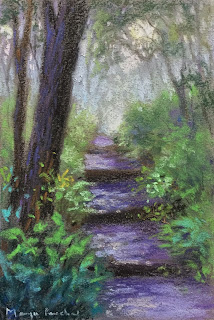 A soft pastel painting of forest scene on Canson Mi Teintes paper