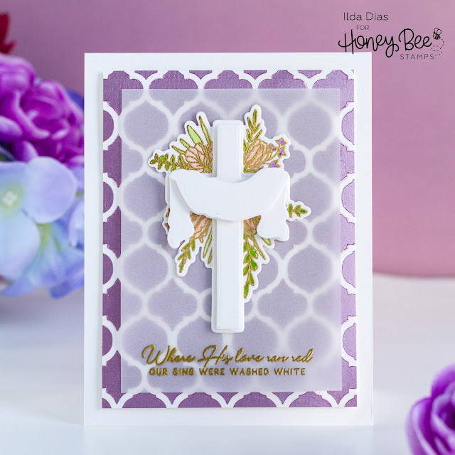Resurrection Easter Card, Honey Bee Stamps, Old Rugged Cross,Quatrefoil Stencil,Card Making, Stamping, Die Cutting, handmade card, ilovedoingallthingscrafty, Stamps, how to,