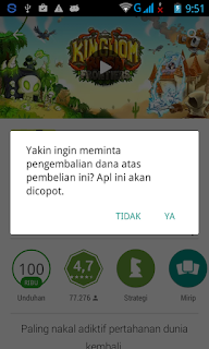 Konfirmasi Refund dana Aplikasi/Game Android di Google Play Store