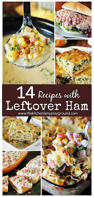 14 Favorite Recipes for Leftover Ham ~ From soups to casseroles to classic ham salad, there's sure to be 1 or 2 ... or 14 ... you'll love!  www.thekitchenismyplayground.com