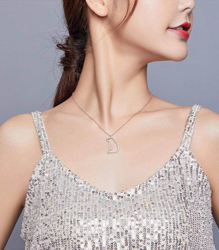 溫柔北極熊 925純銀鋯石項鍊