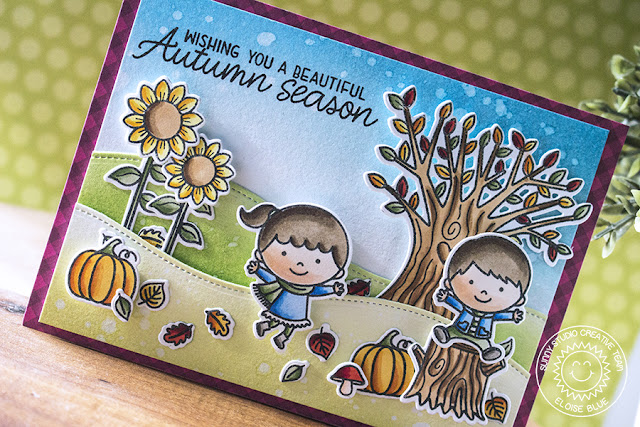 Sunny Studio Stamps: Happy Harvest Fall Kiddos Beautiful Autumn Fall Themed Card by Eloise Blue