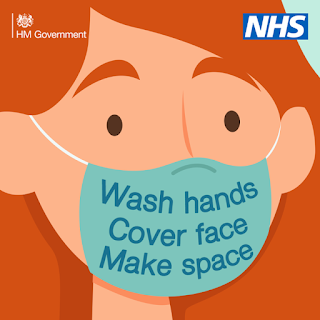 Pretty drawing of a lady wearing a face covering wash hands make space