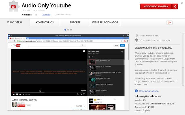 Como reproduzir apenas o áudio dos vídeos do Youtube