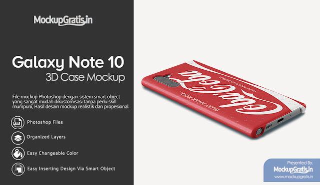 PSD Mockup Custom Case Samsung Galaxy Note 10 Gratis