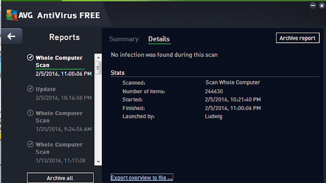 AVG AntiVirus Free no infection whole computer scan