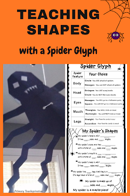 spider craftivity and teaching shapes spider glyph  #spidercraftivity #spiderglyph #Octoberclassroomdecor