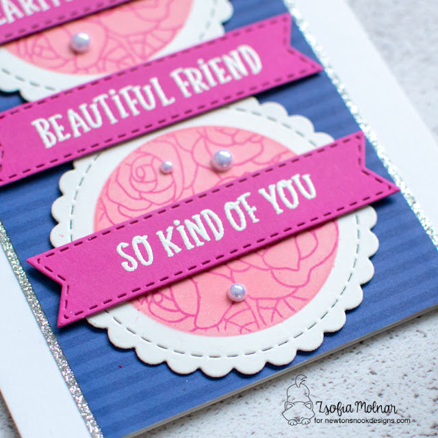 Heartfelt Thanks Card by Zsofia Molnar   Heartfelt Roses Stamp Set and Circle Frames and Banner Trio Die Sets by Newton's Nook Designs